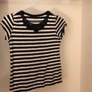 Loft Short Sleeve Blouse with Embellished Collar